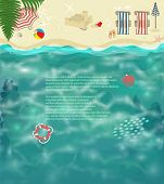 Summer Beach Background - Tropical beach with folding chairs, parasols, sand castle, seashells, colo