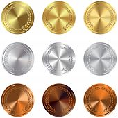Set Of Gold, Silver And Bronze Award Medals On White. Gold, Silver And Bronze Award Medals Set Isola poster