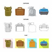 Vector Design Of Suitcase And Baggage Icon. Set Of Suitcase And Journey Stock Vector Illustration. poster