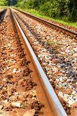 Railway Tracks In A Rural Scene In Czech Republic. The Length Of The Railway Track. Railway Transpor poster