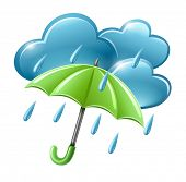 rainy weather icon with clouds and umbrella vector illustration isolated on white background EPS10.