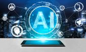 Ai Learning And Artificial Intelligence Concept - Icon Graphic Interface Showing Computer, Machine T poster