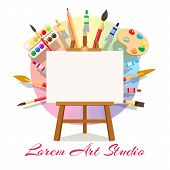 Painting Workshop Elements. Artistic Oil Painting Image And Masterpiece Art Materials, Vector Easel  poster