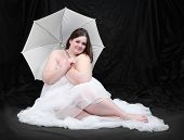 pic of plus size model  - Retro style picture of a overweight woman posing on a black background - JPG