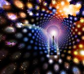 foto of life after death  - Man before giant keyhole in space abstract - JPG