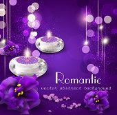 Vector fondo con velas románticas y violetas sobre fondo púrpura