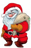 image of santa claus hat  - Cartoon Santa Claus standing with a present sack on his shoulders - JPG