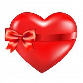 Red Heart With Red Bow, Isolated On White Background
