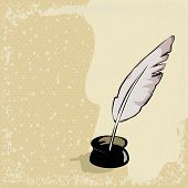 Feather Pen On Vintage Background