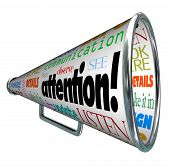 A bullhorn megaphone showing the word Attention and many words related to communication: listen, ale