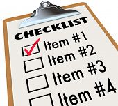 stock photo of clipboard  - A checklist on a wood and metal clipboard with a check next to the first item - JPG