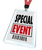 A badge and lanyard with printed pass reading Special Event to advertise or market a convention, con