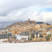 Tuscany, Casale Marittimo Village Covered By Snow In Winter. Italy