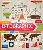 Set of infographics for design with chemical and medical elements, phones, lamps and world and USA m