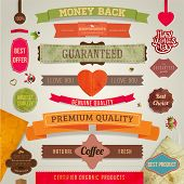 Set of vector retro ribbons, old dirty paper textures and vintage labels, banners and emblems. Heart