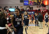 JAMAICA-FEB 2: Connecticut Huskies guard Bria Hartley (14) heads to the locker room after beating th