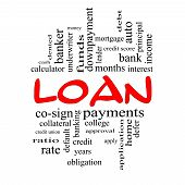 Loan Word Cloud Concept In Red Caps