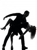 one caucasian couple woman man dancing dancers salsa rock  in silhouette studio isolated on white ba