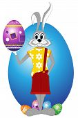 pic of buck teeth  - Easter rabbit and eggs on a white background - JPG