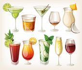 image of alcohol abuse  - Collection of alcohol coctails and other drinks - JPG