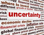 stock photo of corrupt  - Uncertainty financial creative message design - JPG
