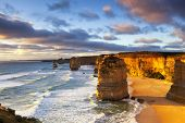 image of 12 apostles  - Twelve Apostles at sunset - JPG
