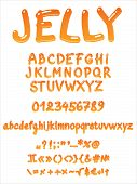 Handwritten jelly font vector