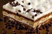 Tiramisu Cake with coffee beans
