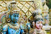 Shiva With His  Wife Parvati On Traditional Hindu Temple