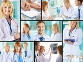 Collage of successful clinicians at work in hospital