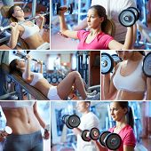 foto of barbell  - Portrait of sporty female doing physical exercise in gym - JPG