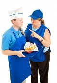 Boss yells at teenage fast food worker.  Isolated on white background.