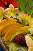 An Assortment Of Tropical Fruit And Flowers From Hawaii
