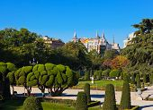 stock photo of fountain grass  - Park of the Pleasant Retreat in Madrid Spain  - JPG