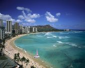 image of waikiki  - Waikiki Beach and Diamond Head crater on the island of Oahu Hawaii - JPG