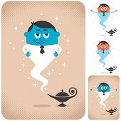 foto of genie  - Genie coming out of magic lamp - JPG