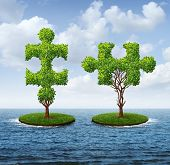 picture of merge  - Growth connection with two trees in the shape of jigsaw puzzle pieces floating on an ocean moving together to merge into one strong partnership as a business concept of teamwork - JPG