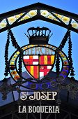 BARCELONA, SPAIN - JANUARY 25: Emblem at the entrance of Sant Josep de la Boqueria Market on January