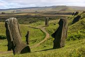 Several moai at Rano Raraku, Easter Island