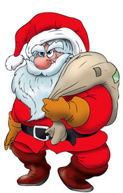 stock photo of santa claus hat  - Cartoon Santa Claus standing with a present sack on his shoulders - JPG