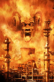 foto of banshee  - Screaming demonic face materialising amid the fumes above a petrochemical plant denoting environmental nightmare - JPG
