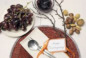 Happy Thanksgiving Lunch, Brunch Or Casual Modern Dining Shabby Chic Table With Autumn Fall Color Th