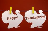 stock photo of thanksgiving  - Celebrate Thanksgiving on the last Thursday in November with a Happy Thanksgiving message greeting written across white turkeys hanging from pegs on a line against a red brown background - JPG