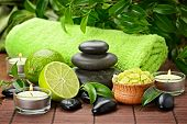 spa composition with lime and toning sea crystals