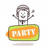 man listening music with party sign