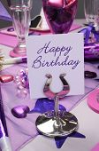 Pink And Purple Theme Party Table Setting Decorations, With Happy Birthday Message - Vertical.
