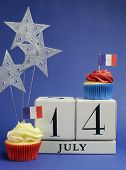 France National Holiday Calendar, 14 July, Fourteenth Of July, Bastille Day, With Flags , Cakes And