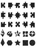Black Jigsaw Puzzle Pieces Icon