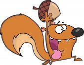 Crazy Squirrel Cartoon Character Running With Acorn