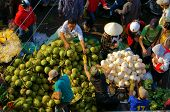 People buy and sell coconut at market